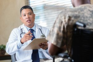doctor speaking with veteran